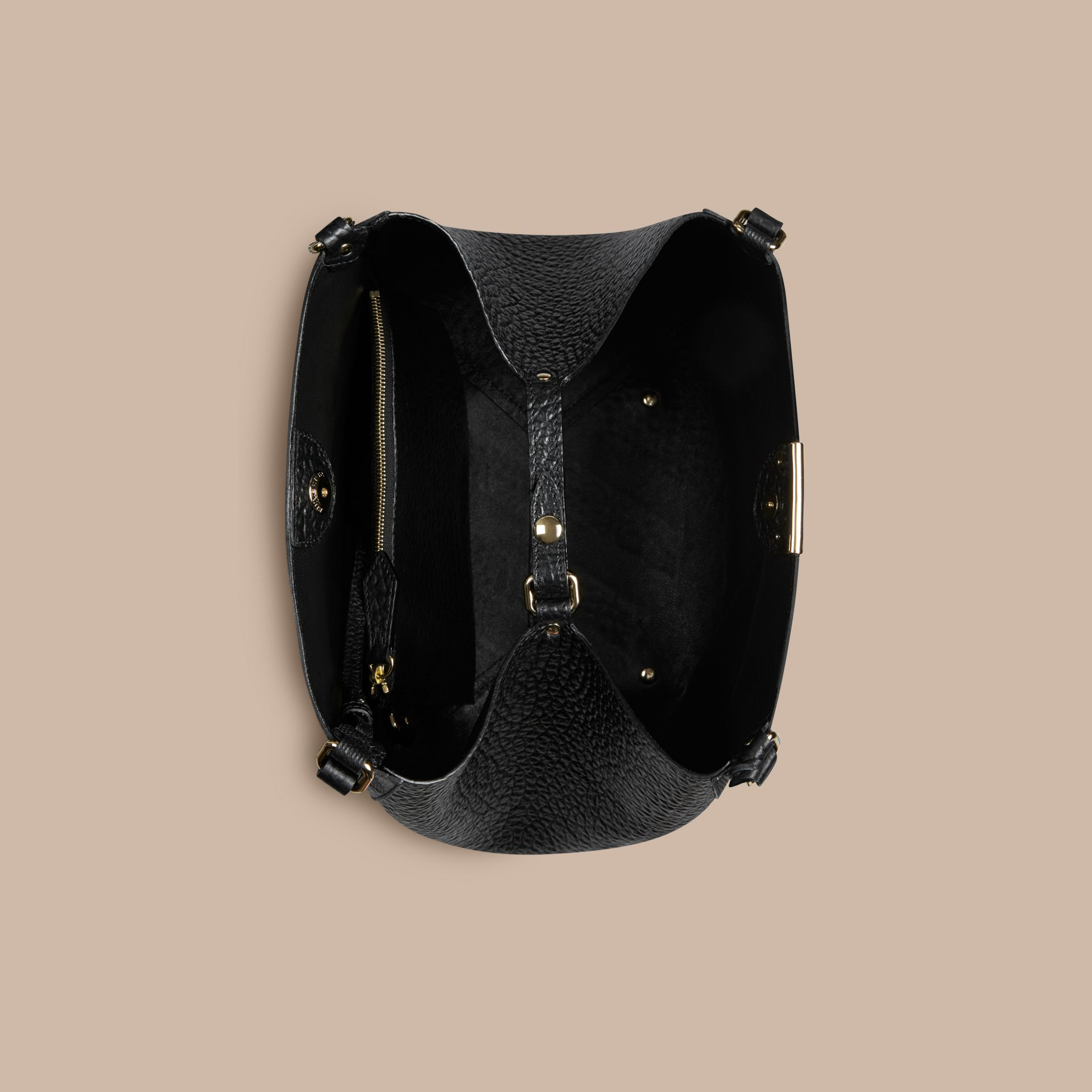 Black The Small Canter in Embossed Check Leather Black - gallery image 4