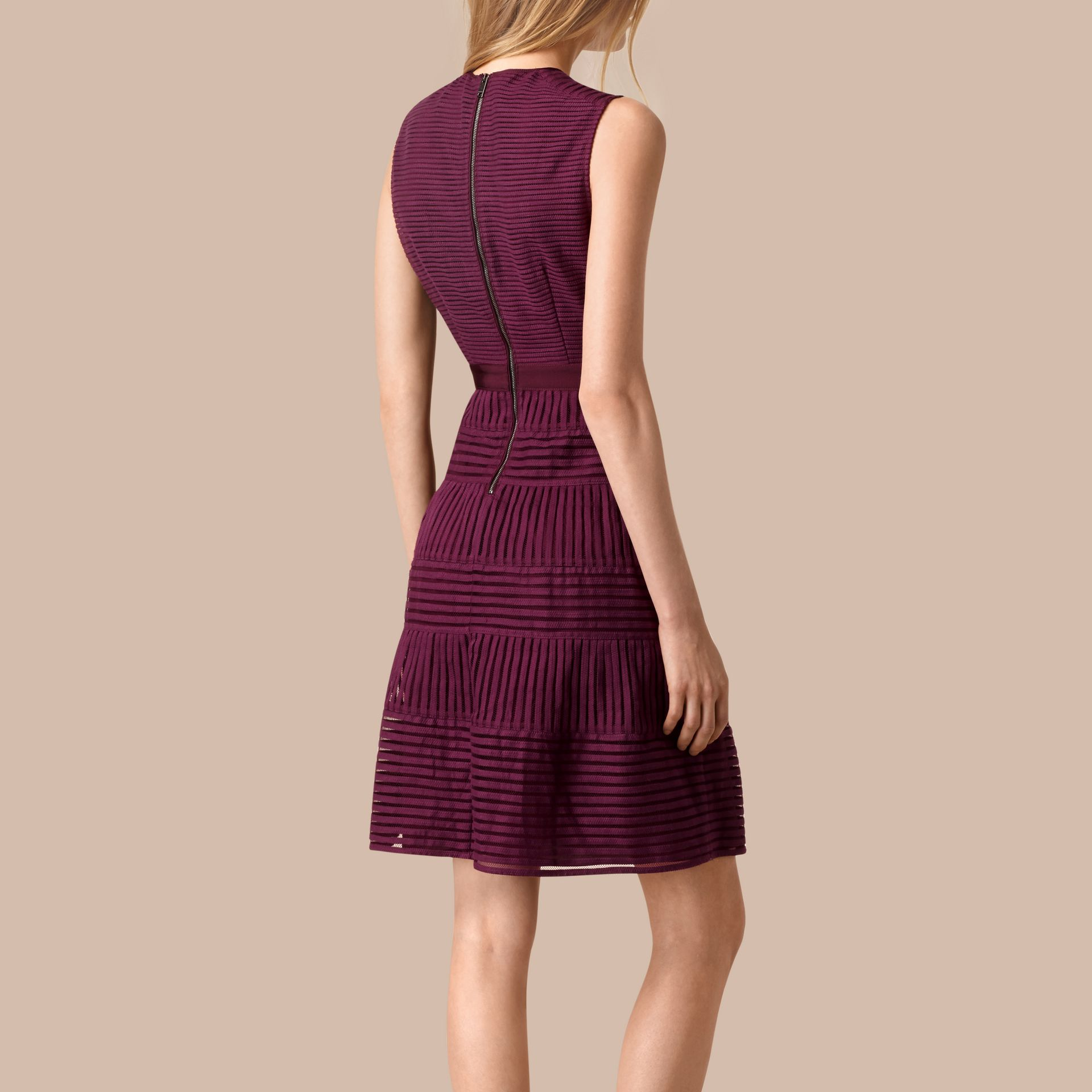 Bright burgundy Panelled Mesh Dress Bright Burgundy - gallery image 2