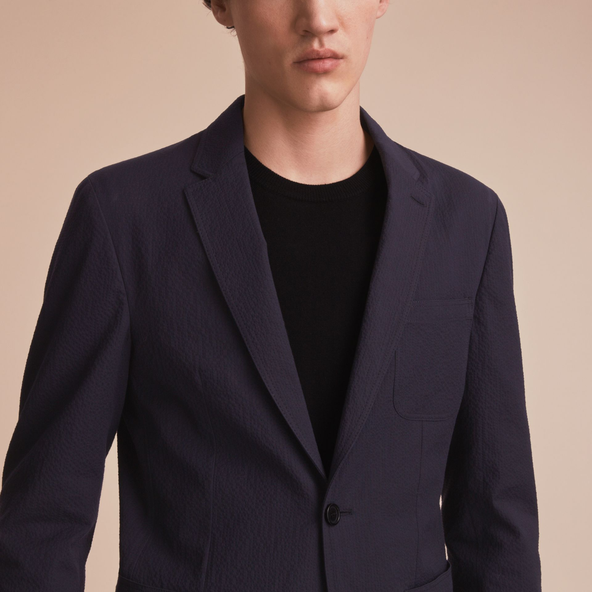 Stretch Cotton Seersucker Blazer - Men | Burberry - gallery image 5
