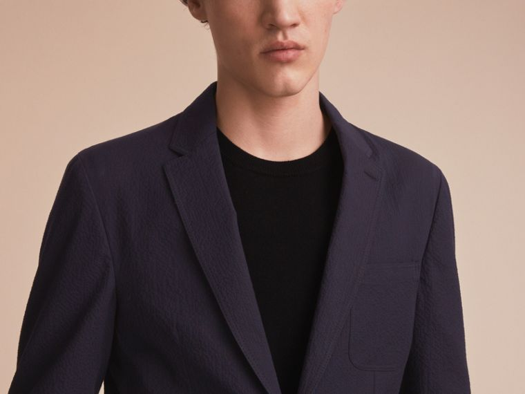 Stretch Cotton Seersucker Blazer - Men | Burberry - cell image 4