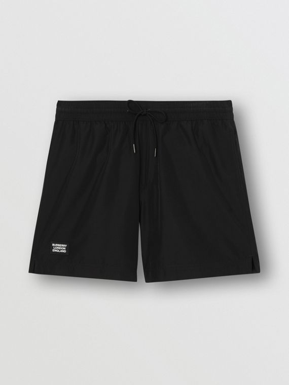 Logo Detail Drawcord Swim Shorts in Black
