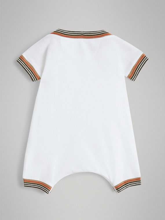 Heritage Stripe Cotton Piqué Two-piece Baby Gift Set in White | Burberry United Kingdom - cell image 3