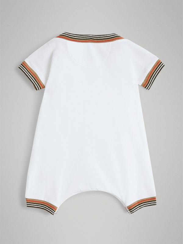 Heritage Stripe Cotton Piqué Two-piece Baby Gift Set in White - Children | Burberry United Kingdom - cell image 3