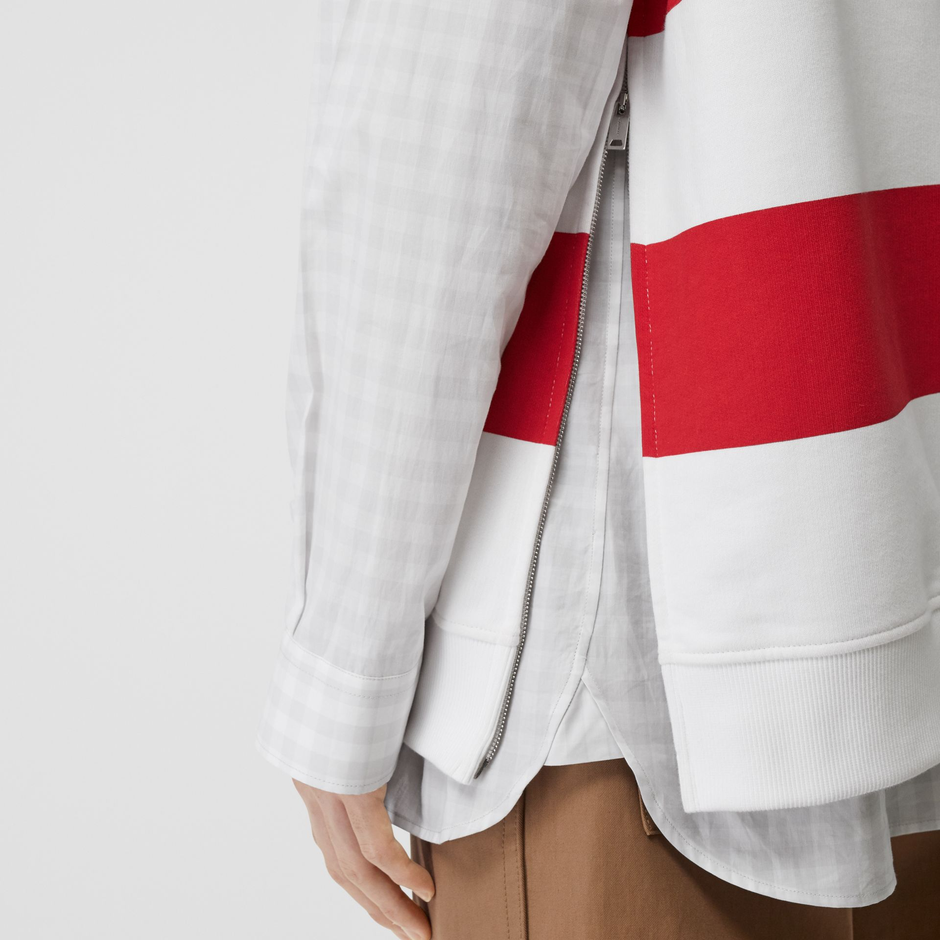 Zip Detail Striped Cotton Hoodie in Red | Burberry - gallery image 5