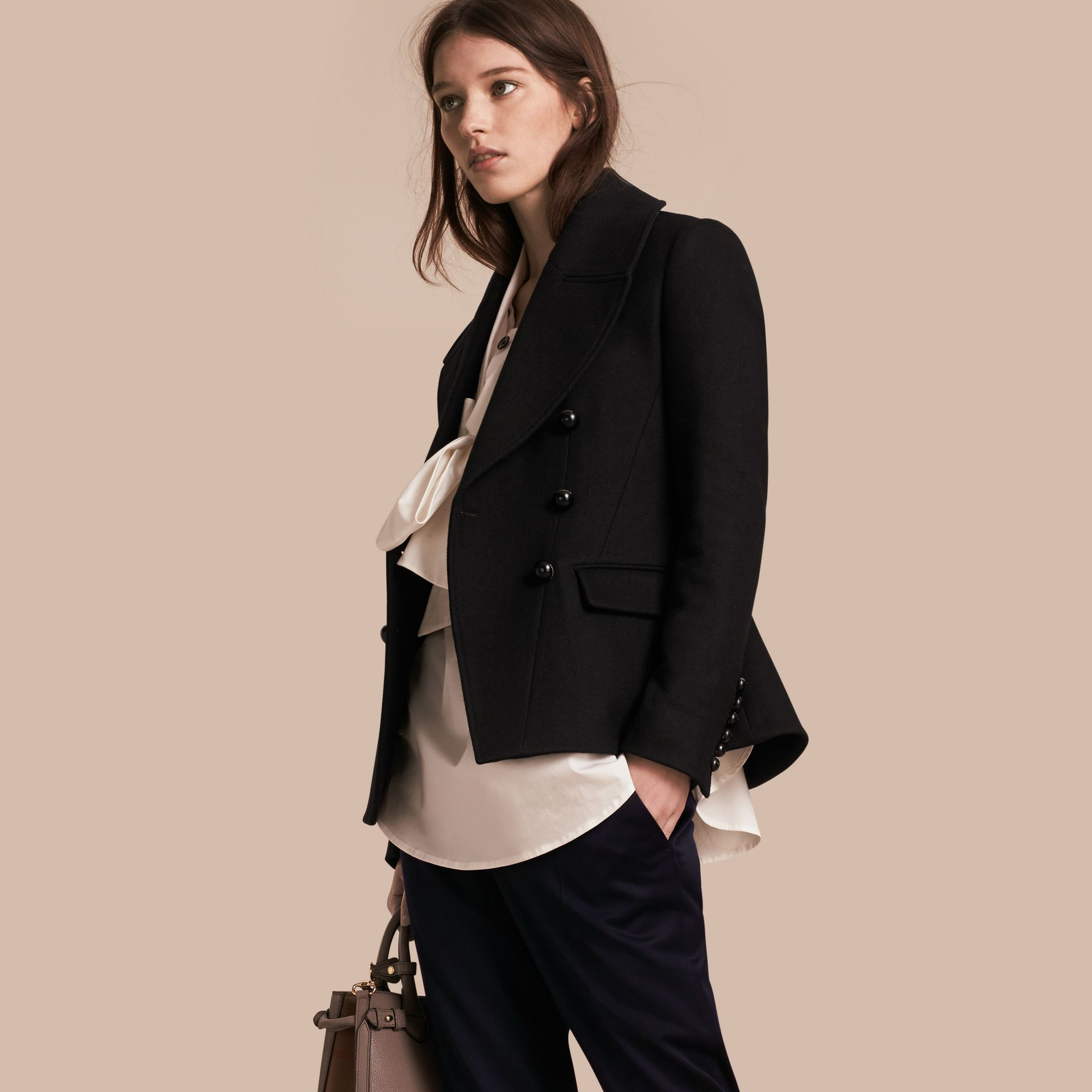 Tailored Wool Blend Jacket in Black - Women | Burberry - gallery image 0