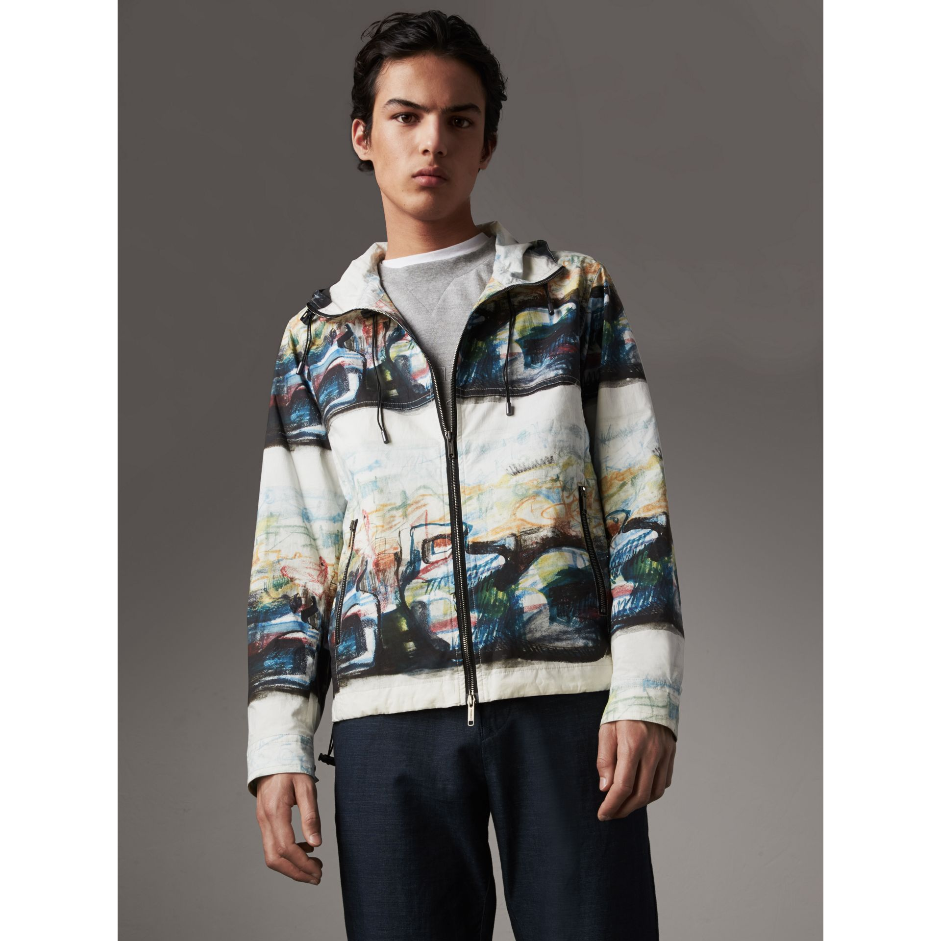 Reclining Figure: Bunched Print Hooded Jacket - Men | Burberry - gallery image 6