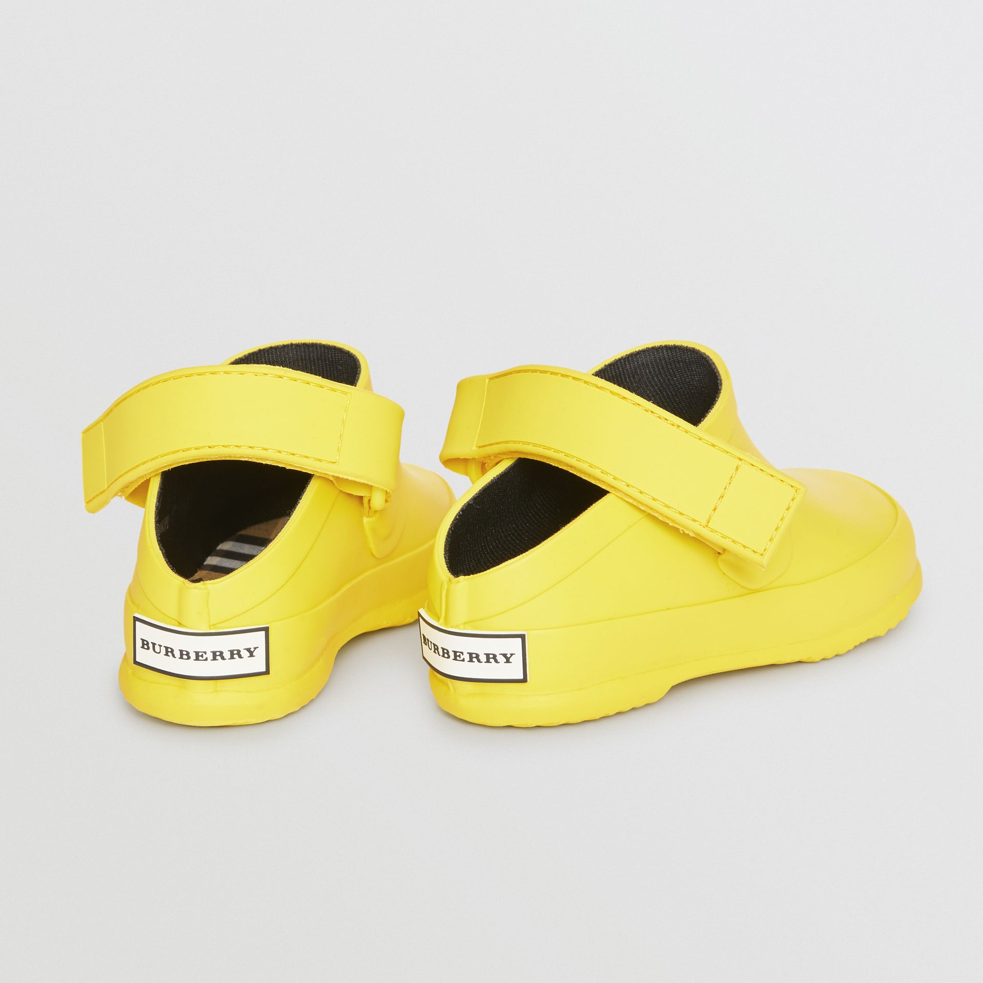 Check Detail Rubber Sandals in Citron - Children | Burberry Canada - gallery image 2