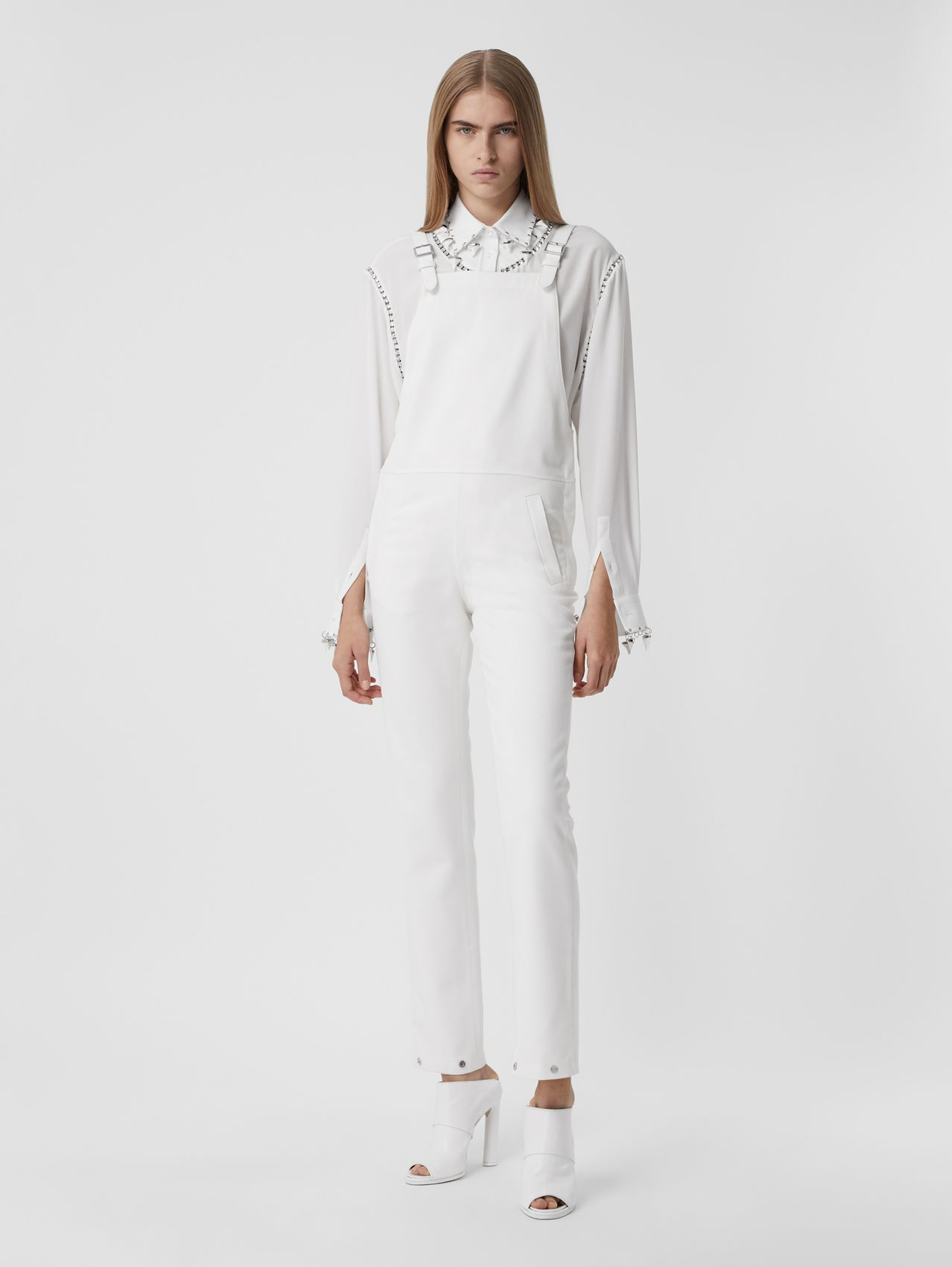 Technical Wool Bib-front Trousers in Optic White