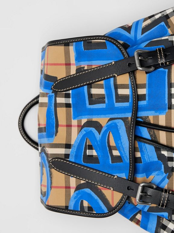 The Large Rucksack in Graffiti Print Vintage Check in Canvas Blue/antique Yellow | Burberry - cell image 1