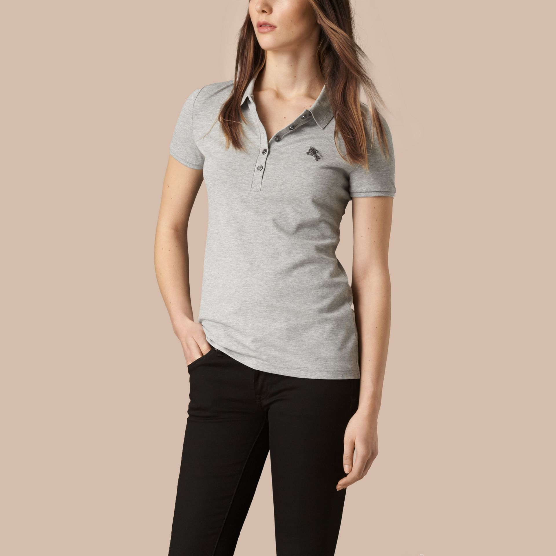 Cotton Piqué Polo Shirt Pale Grey Melange - gallery image 1