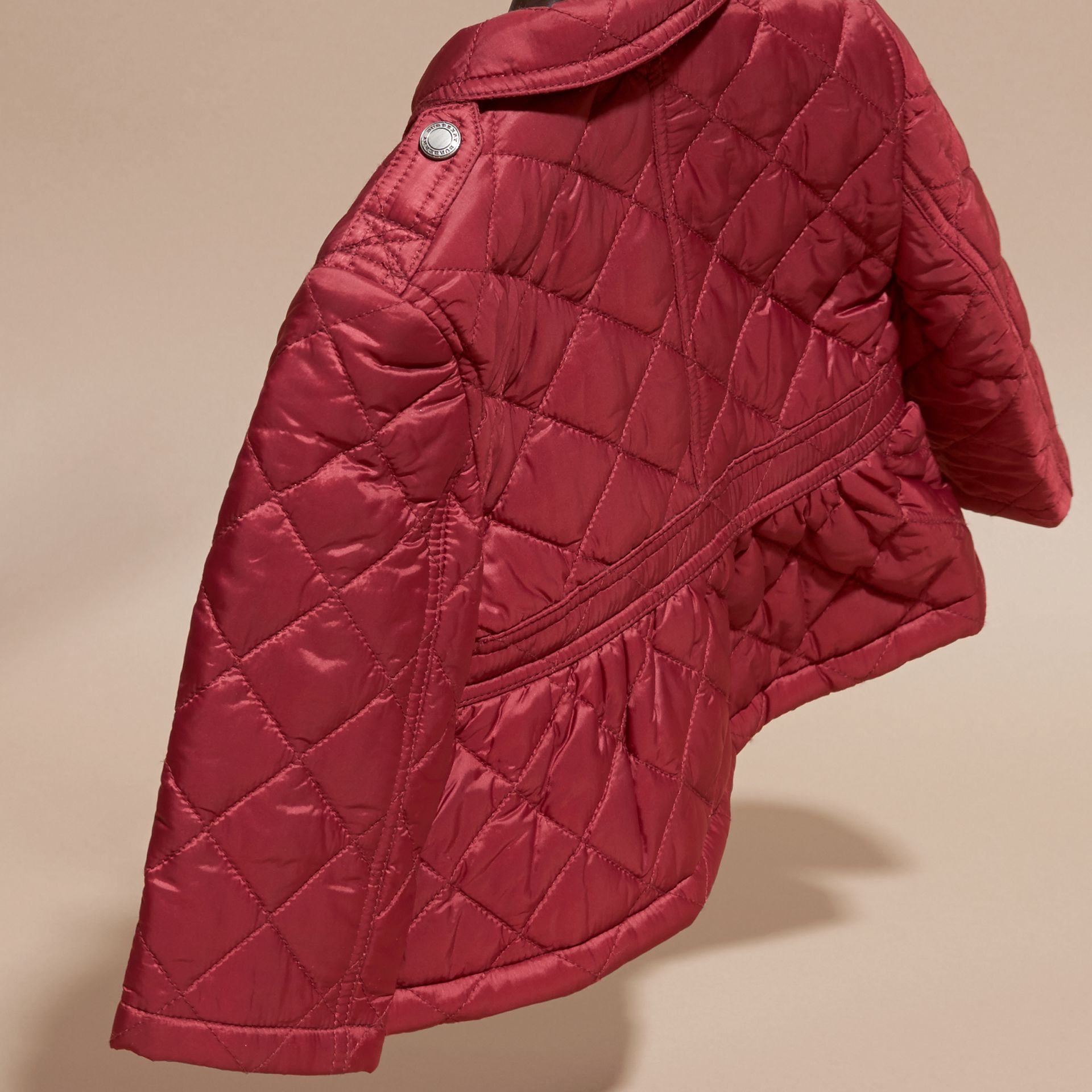 Dark plum pink Quilted Peplum Jacket - gallery image 4