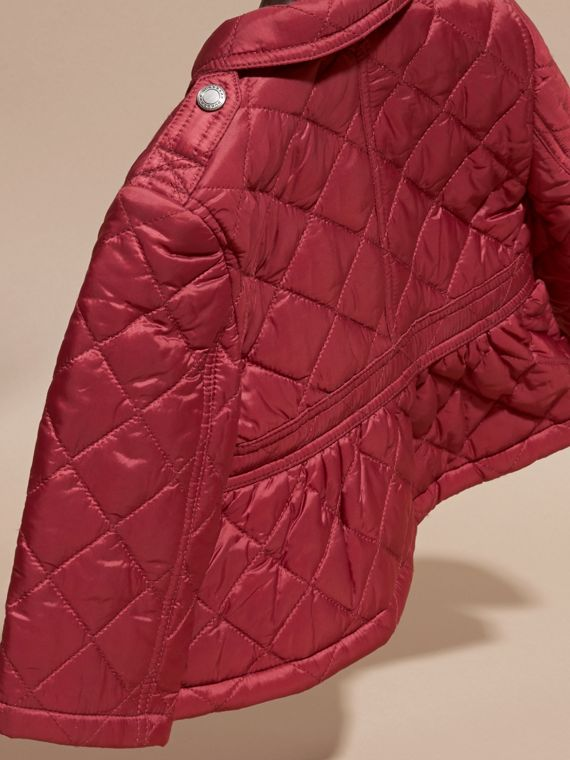 Dark plum pink Quilted Peplum Jacket - cell image 3