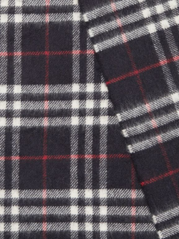 The Classic Vintage Check Cashmere Scarf in Navy | Burberry Singapore - cell image 1