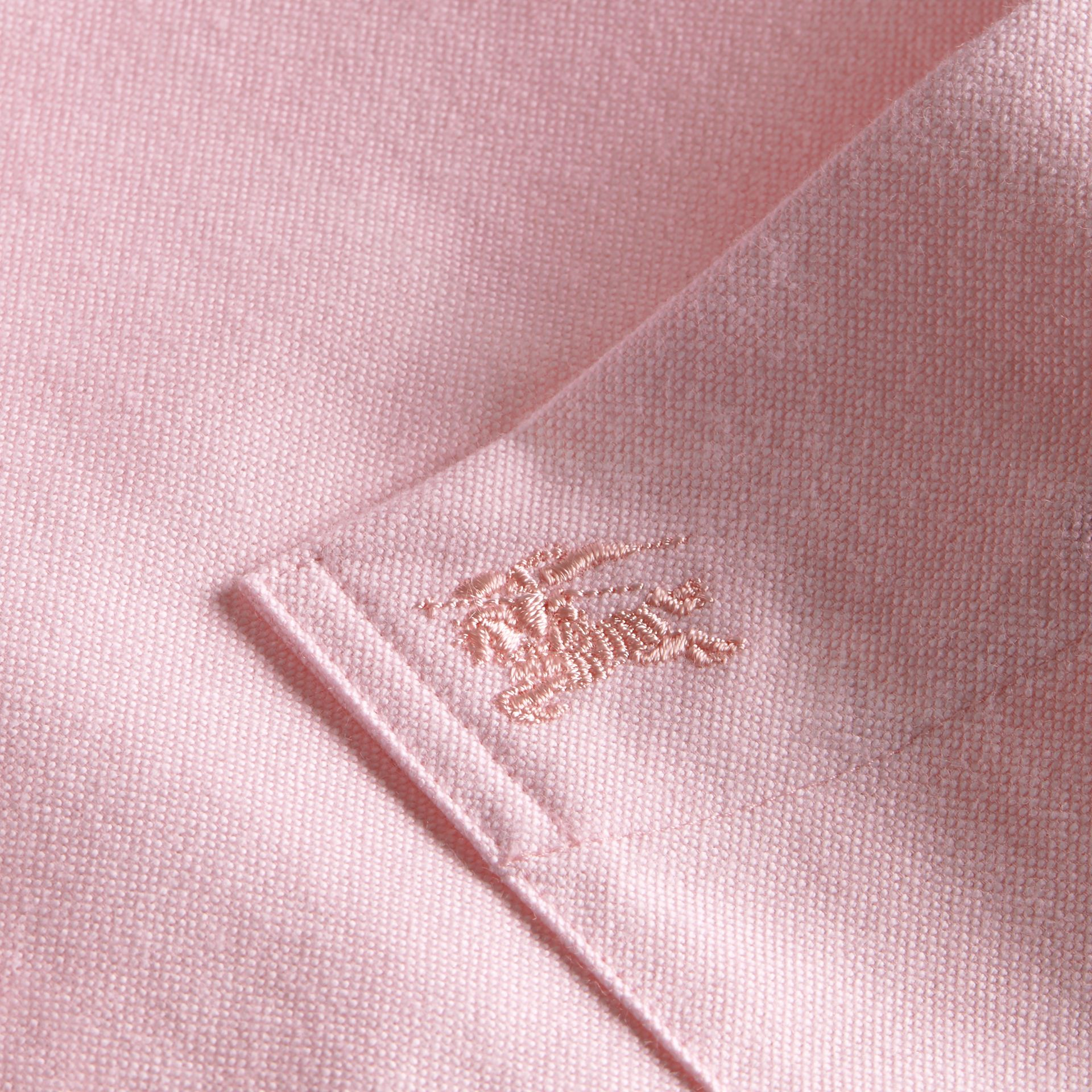 Check Detail Short-Sleeved Cotton Oxford Shirt Pale Pink - gallery image 2