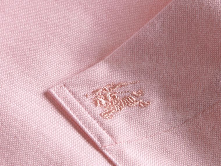 Check Detail Short-Sleeved Cotton Oxford Shirt in Pale Pink - Men | Burberry - cell image 1