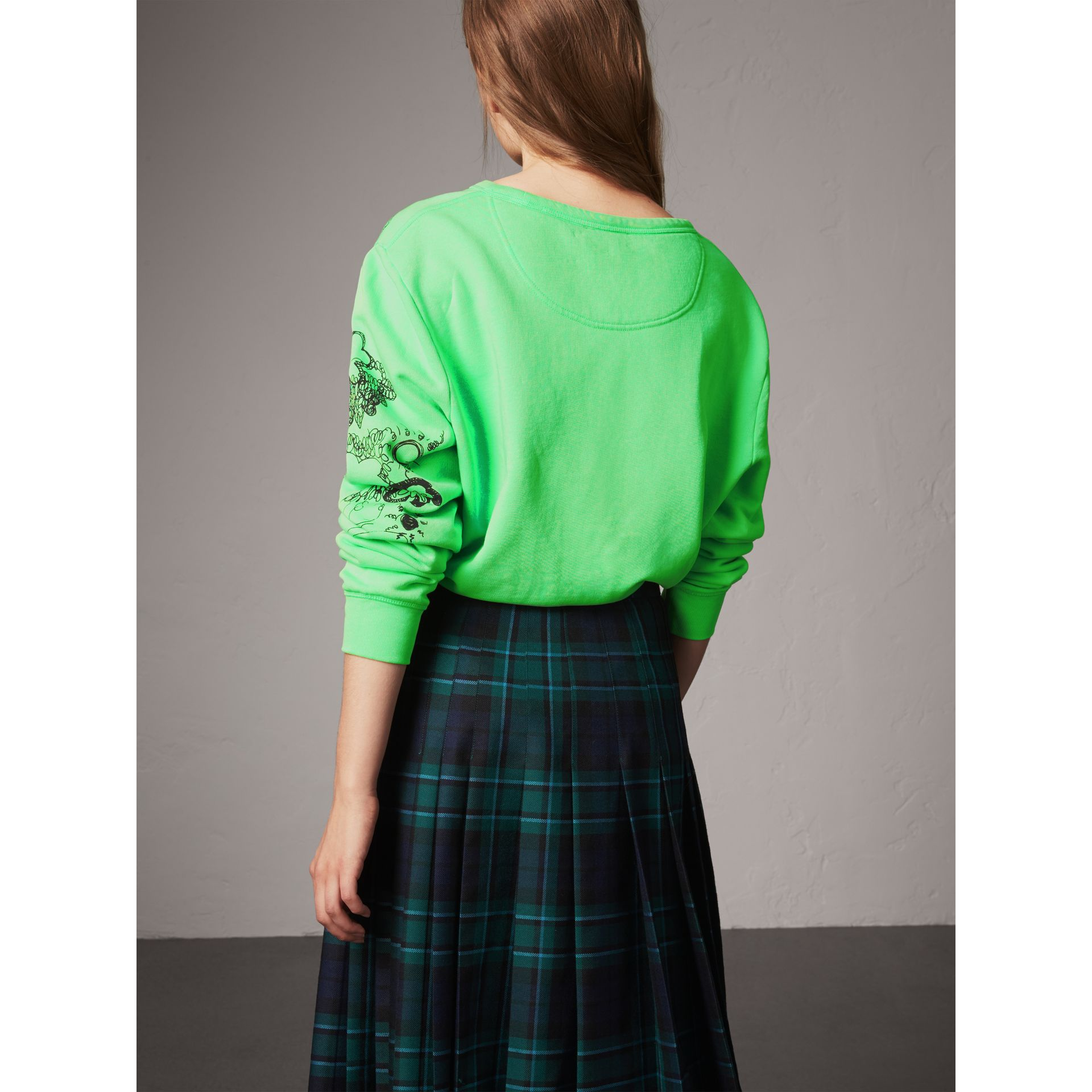 Doodle Print Cotton Sweatshirt in Bright Apple Green - Women | Burberry - gallery image 2
