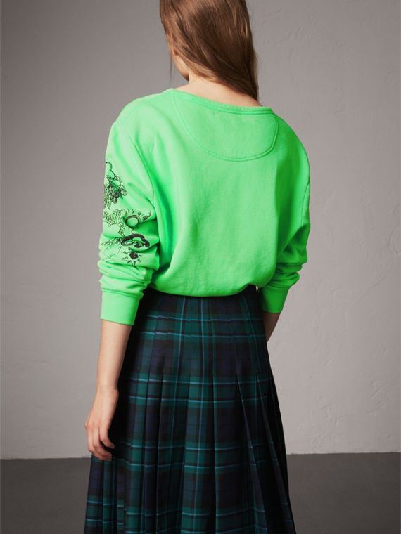 Doodle Print Cotton Sweatshirt in Bright Apple Green - Women | Burberry Singapore - cell image 2