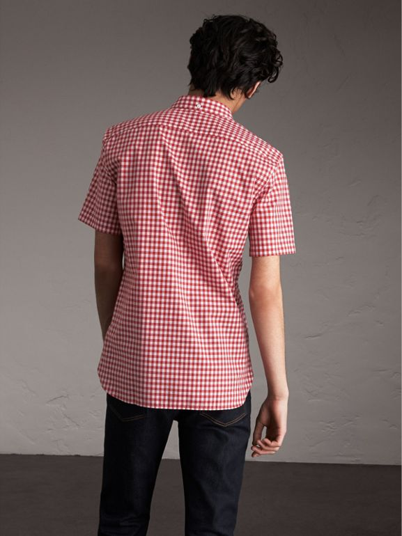 Short-sleeve Button-down Collar Cotton Gingham Shirt in Parade Red - Men | Burberry United Kingdom - cell image 1