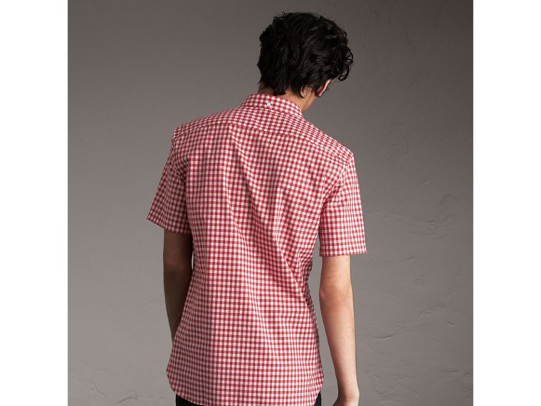 Short-sleeve Button-down Collar Cotton Gingham Shirt in Parade Red - Men | Burberry - cell image 1