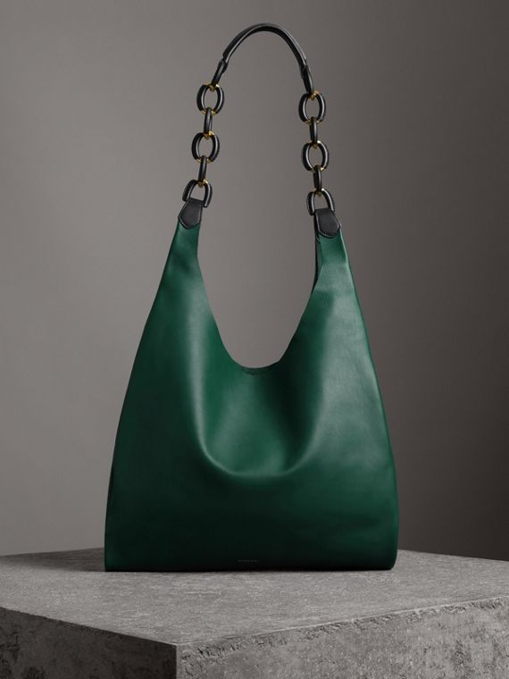 Medium Two-tone Leather Shopper in Racing Green