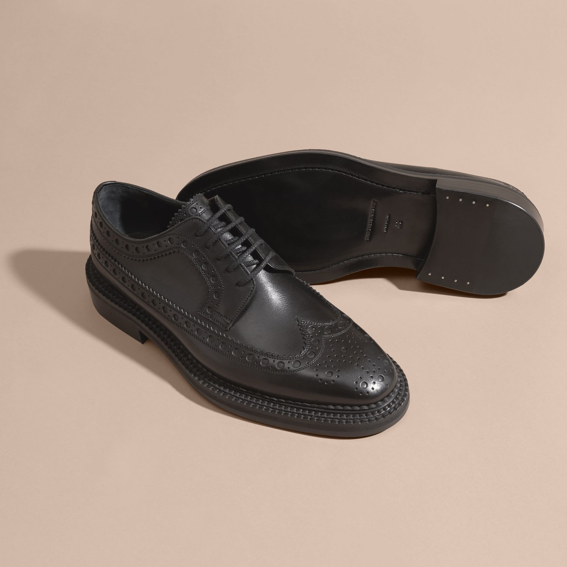 Leather Wingtip Brogues in Black - Men | Burberry - gallery image 5