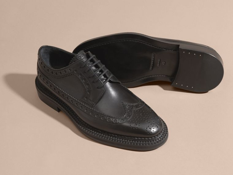 Leather Wingtip Brogues in Black - Men | Burberry Australia - cell image 4