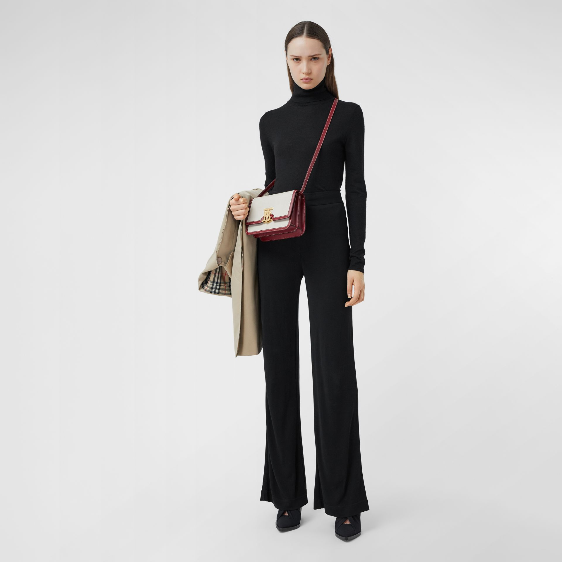Small Two-tone Canvas and Leather TB Bag in Natural/dark Carmine - Women | Burberry Hong Kong S.A.R - gallery image 4
