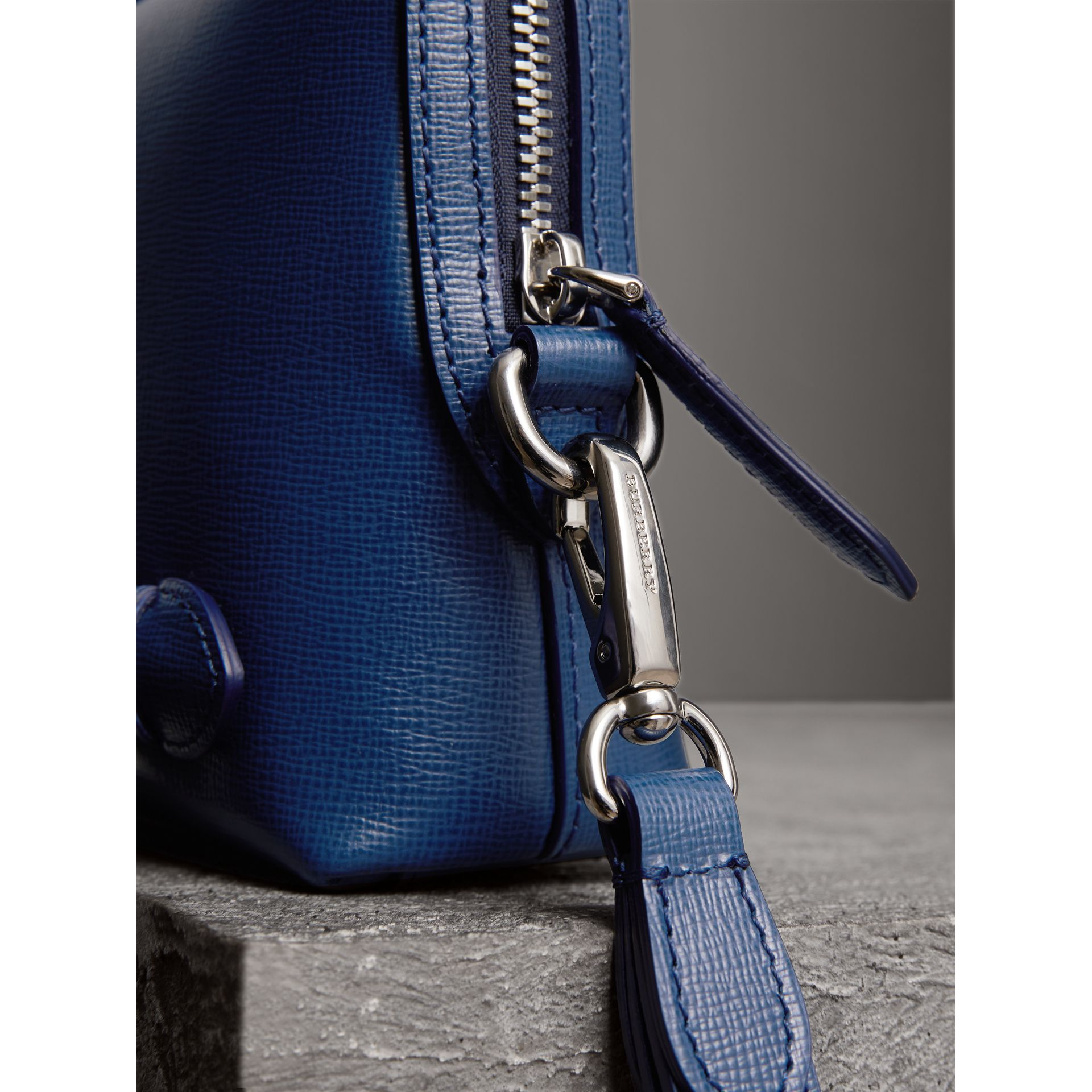 London Leather Pouch in Deep Blue - Men | Burberry - gallery image 2