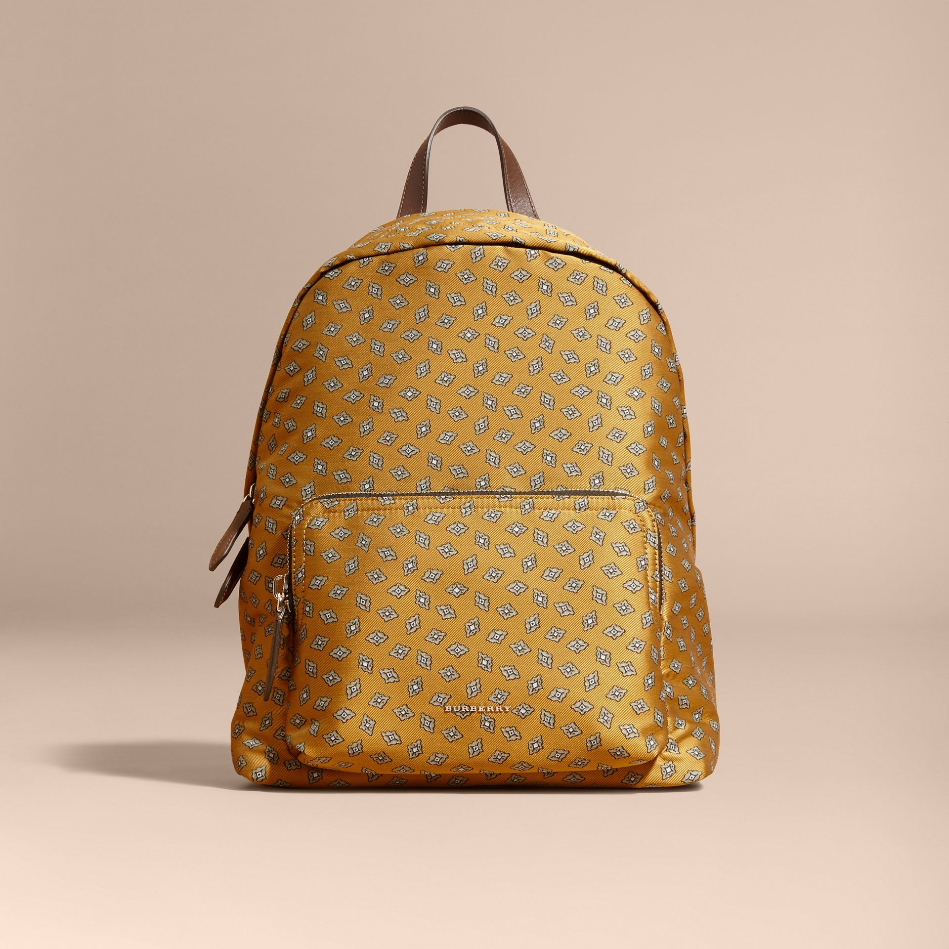 Citrus yellow Leather Trim Abstract Jacquard Backpack Citrus Yellow - gallery image 8