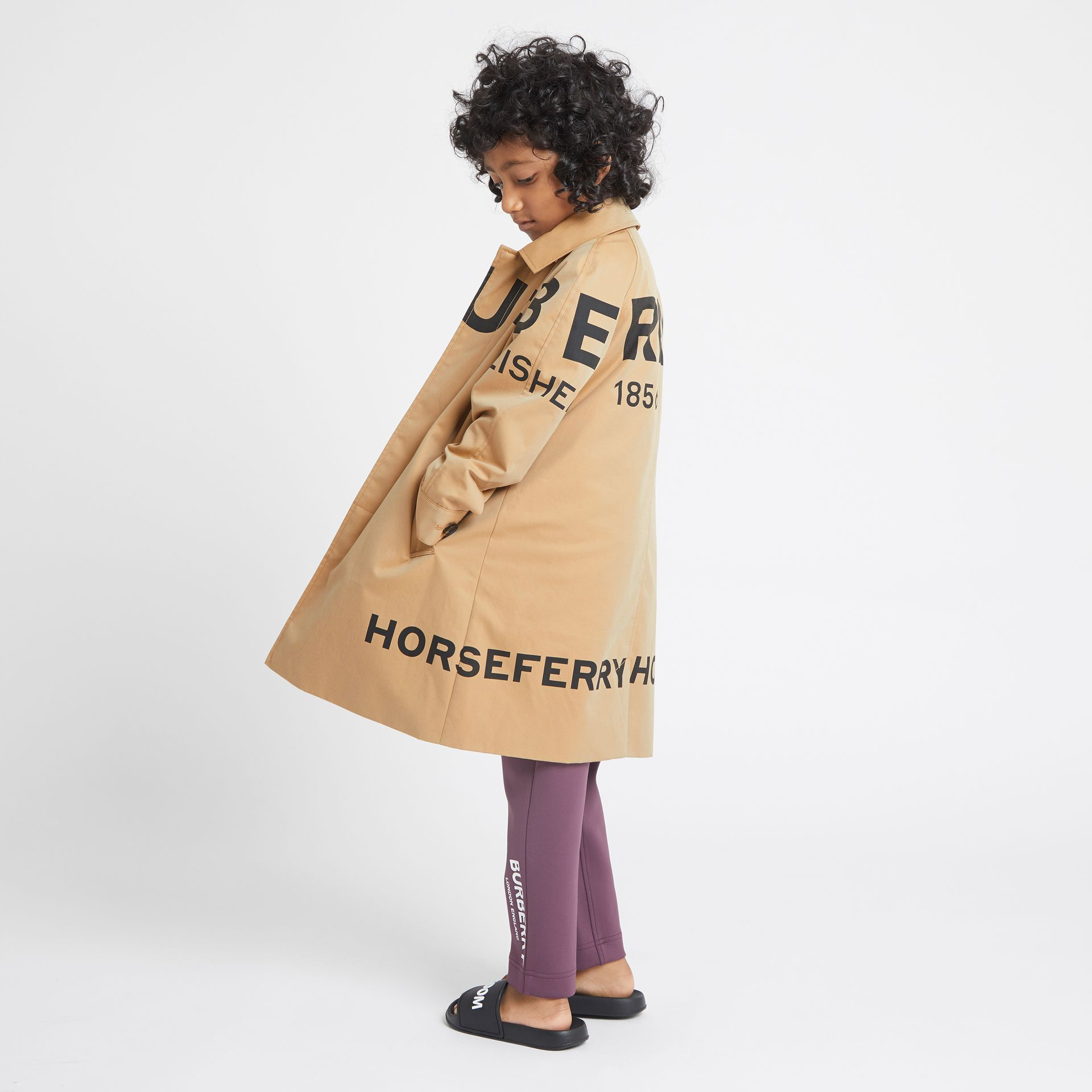 Horseferry Print Cotton Gabardine Car Coat in Honey | Burberry Singapore - gallery image 2