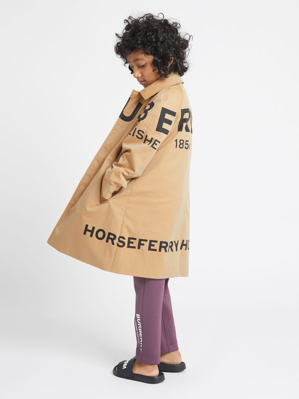 Horseferry Print Cotton Gabardine Car Coat in Honey | Burberry Singapore - cell image 2
