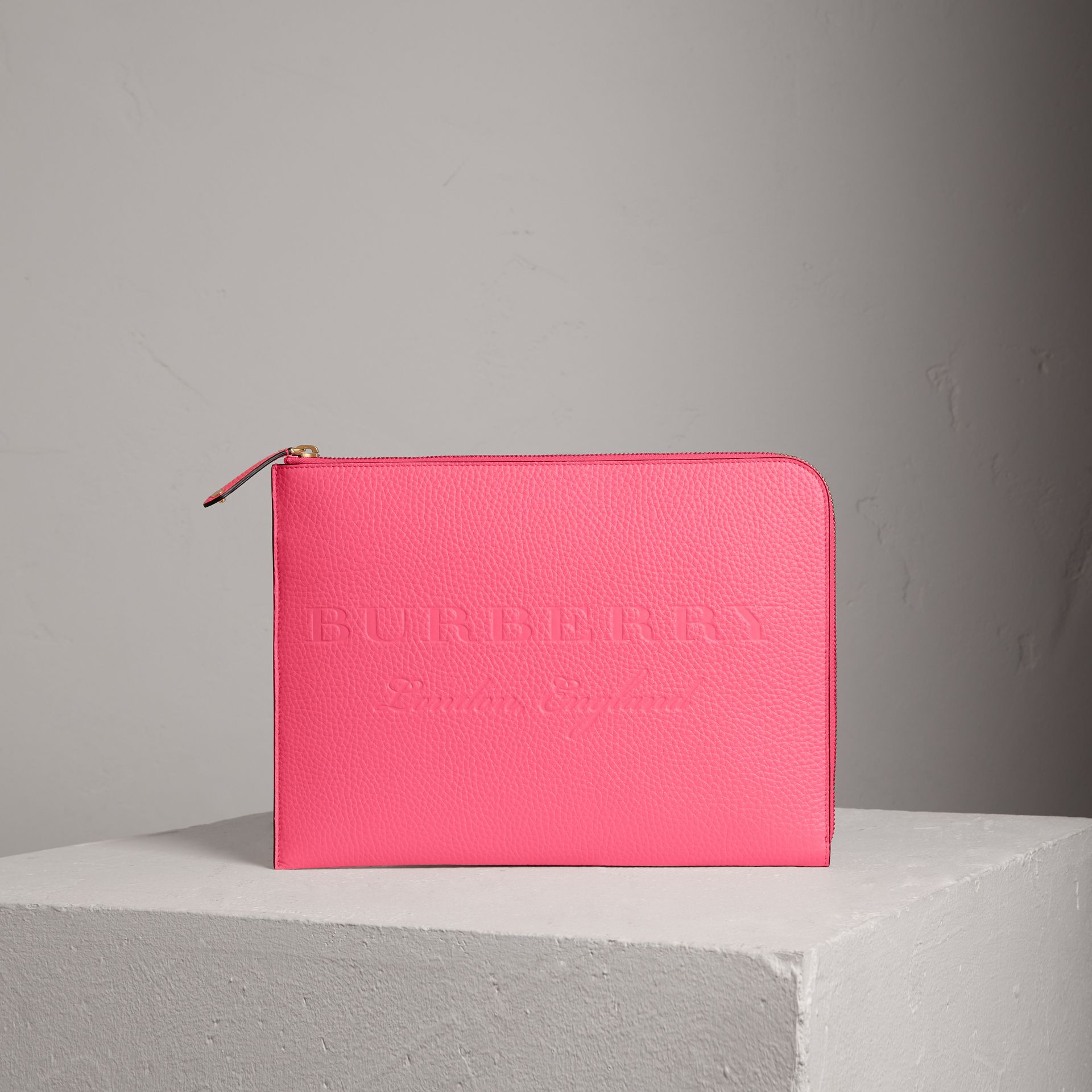 Embossed Leather Document Case in Neon Pink - Men | Burberry - gallery image 0