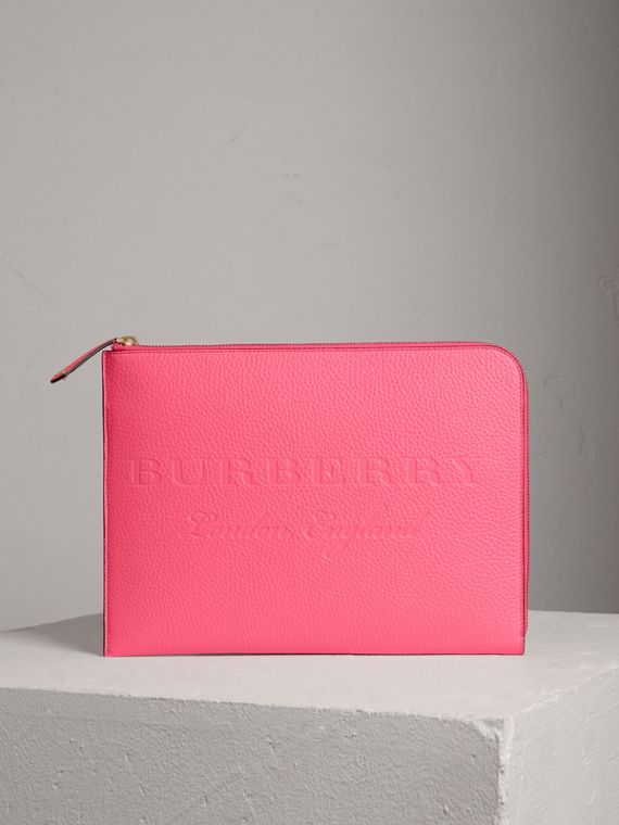 Embossed Leather Document Case in Neon Pink