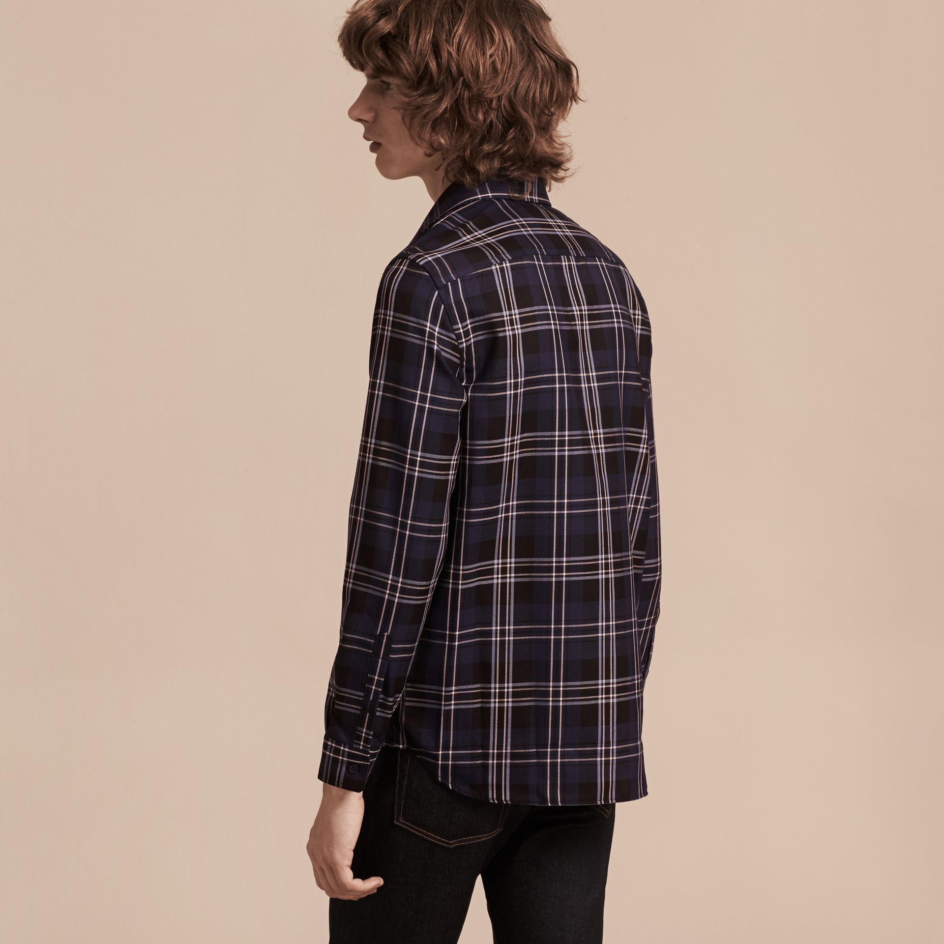 Bright navy Check Wool Shirt Bright Navy - gallery image 3