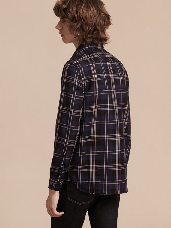 Bright navy Check Wool Shirt Bright Navy - cell image 2