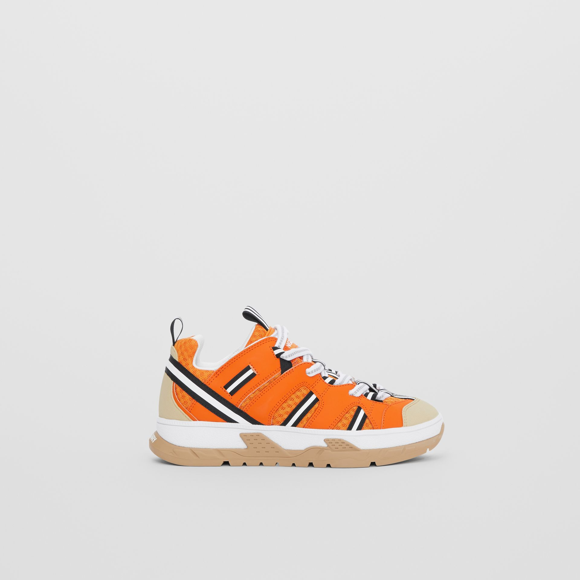 Leather and Mesh Union Sneakers in Bright Orange - Children | Burberry United States - gallery image 3