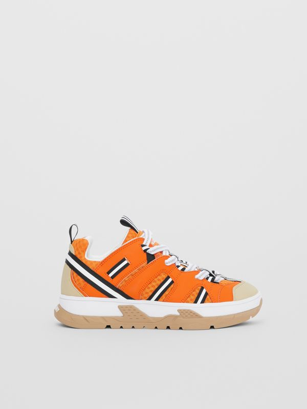 Leather and Mesh Union Sneakers in Bright Orange - Children | Burberry United States - cell image 3