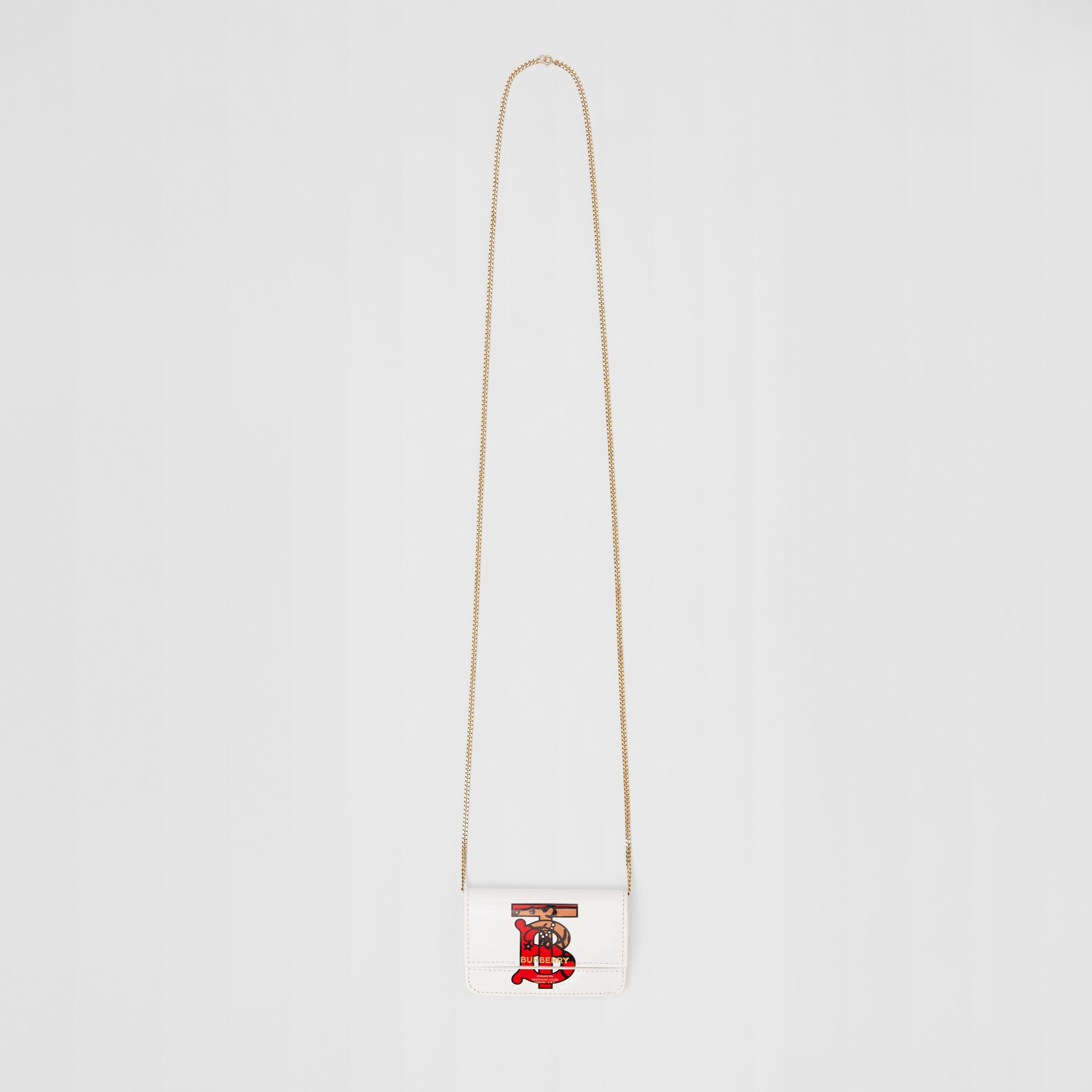 Monogram Motif Leather Card Case with Chain Strap in White | Burberry - 3
