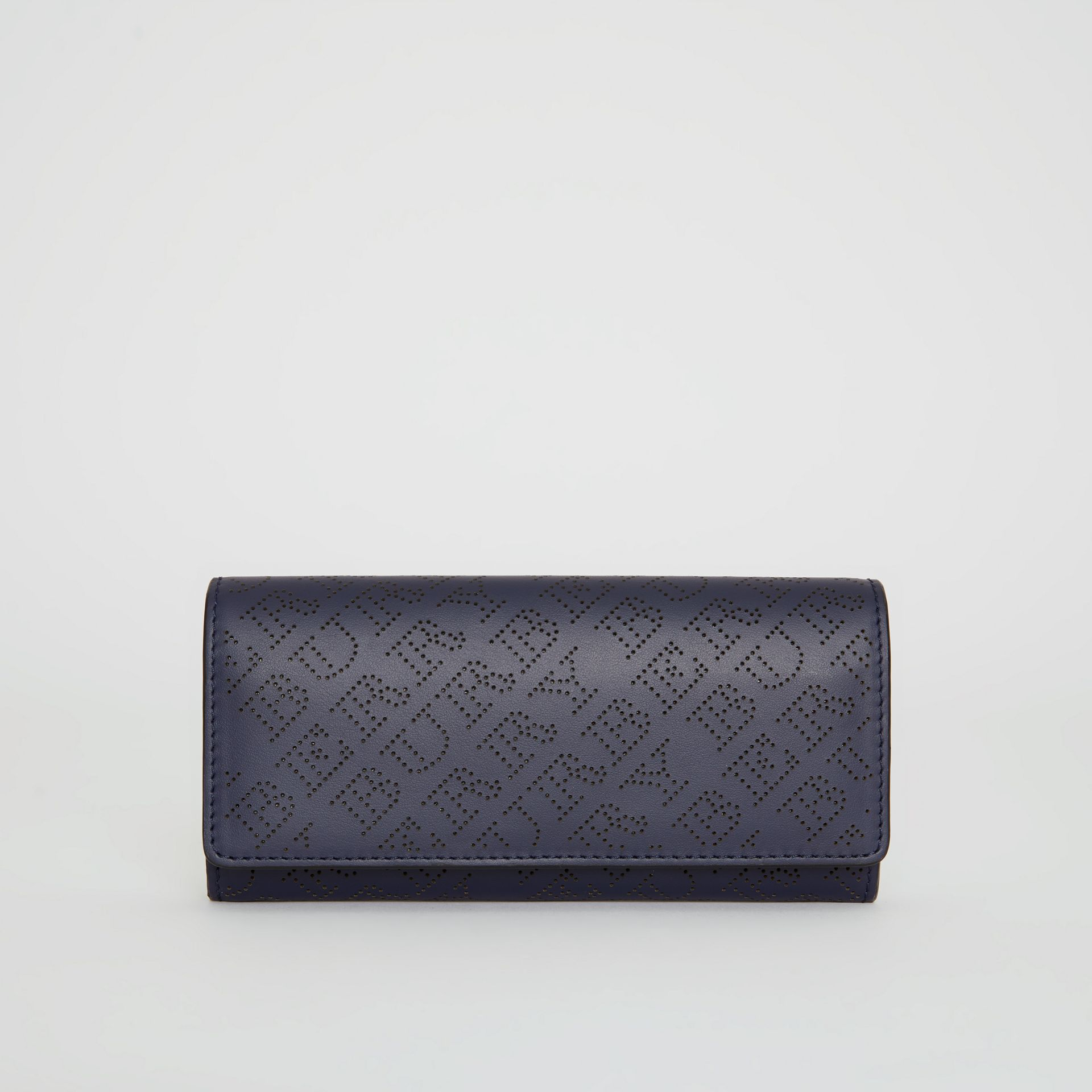 Perforated Logo Leather Continental Wallet in Navy - Women | Burberry - gallery image 0