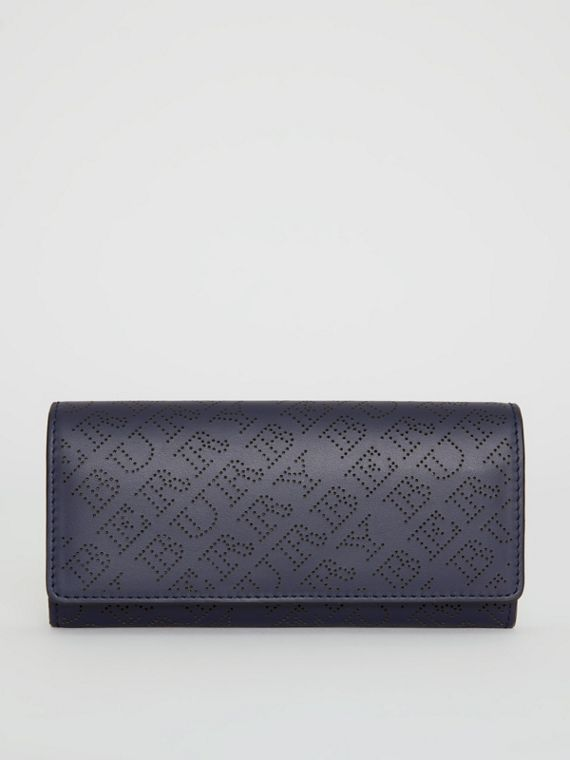 Perforated Logo Leather Continental Wallet in Navy