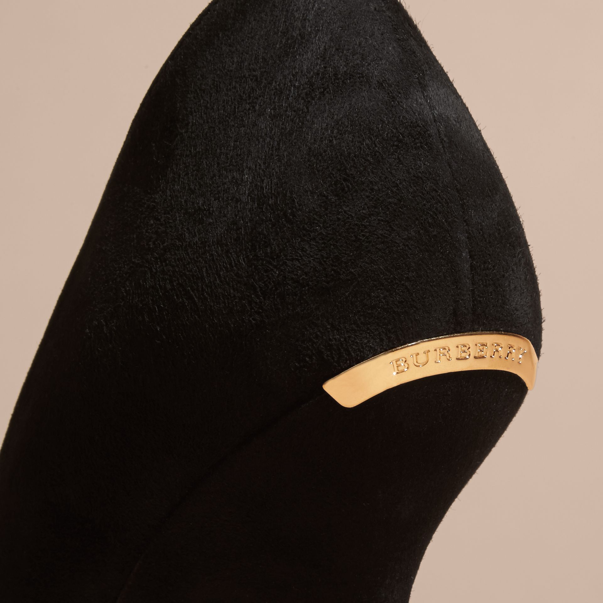 Point-toe Suede D'Orsay Pumps in Black - Women | Burberry - gallery image 2