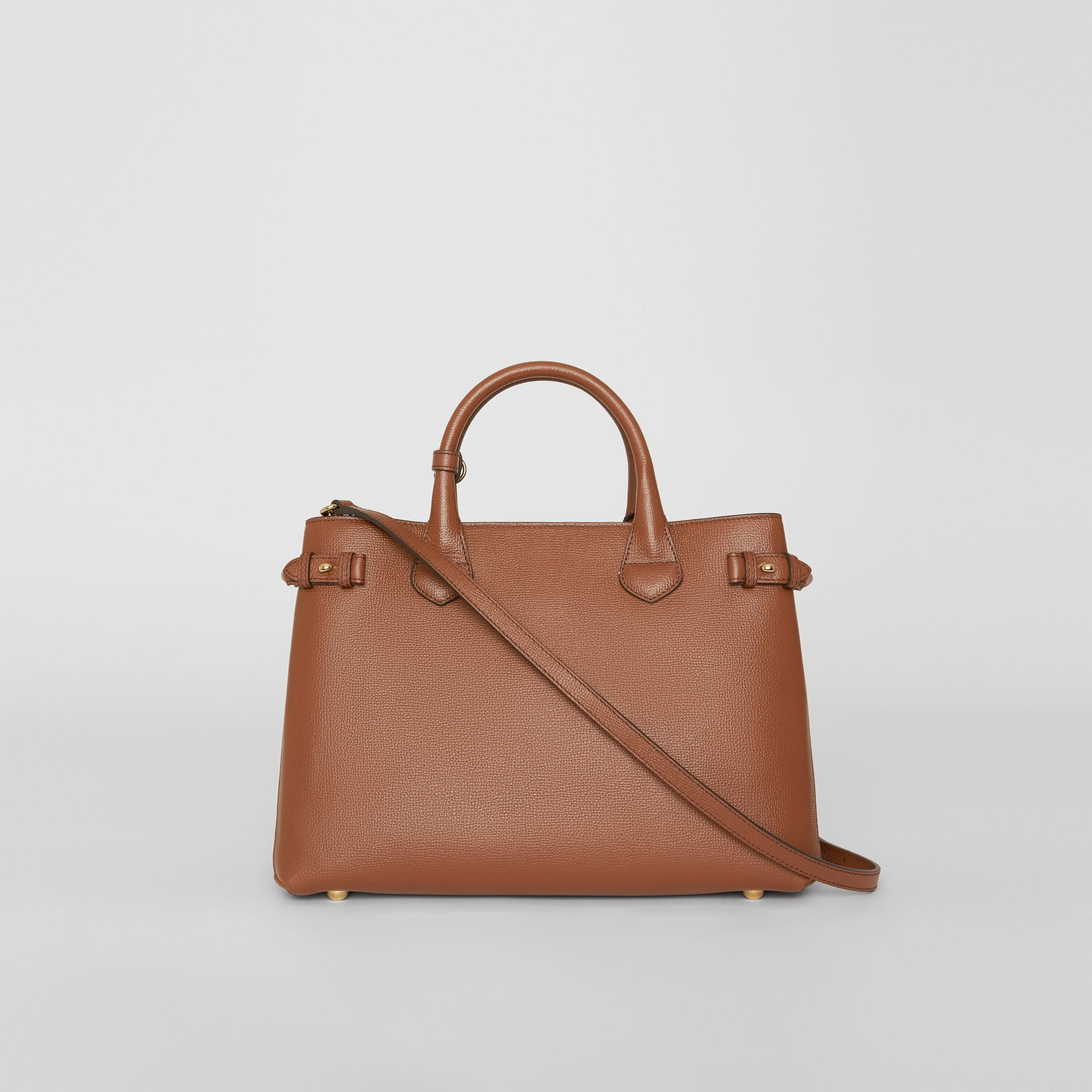 The Medium Banner in Leather and House Check in Tan - Women | Burberry United States - gallery image 7