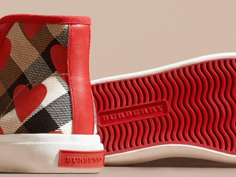 Rosso militare Sneaker alte con motivo check, stampa a pois e finiture in pelle Rosso Militare - cell image 1