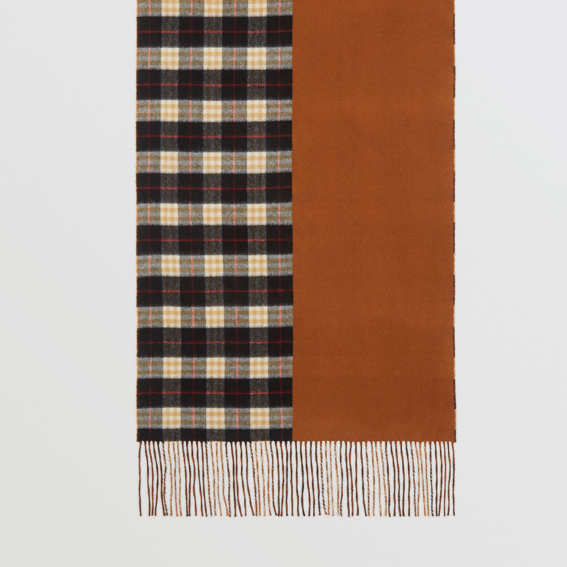 Colour Block Vintage Check Cashmere Scarf in Toffee | Burberry - gallery image 3