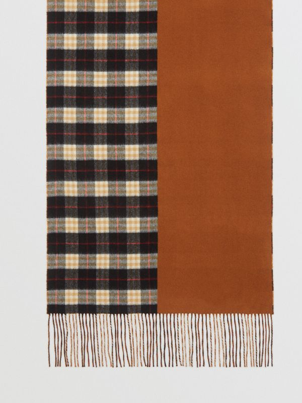 Colour Block Vintage Check Cashmere Scarf in Toffee | Burberry - cell image 3