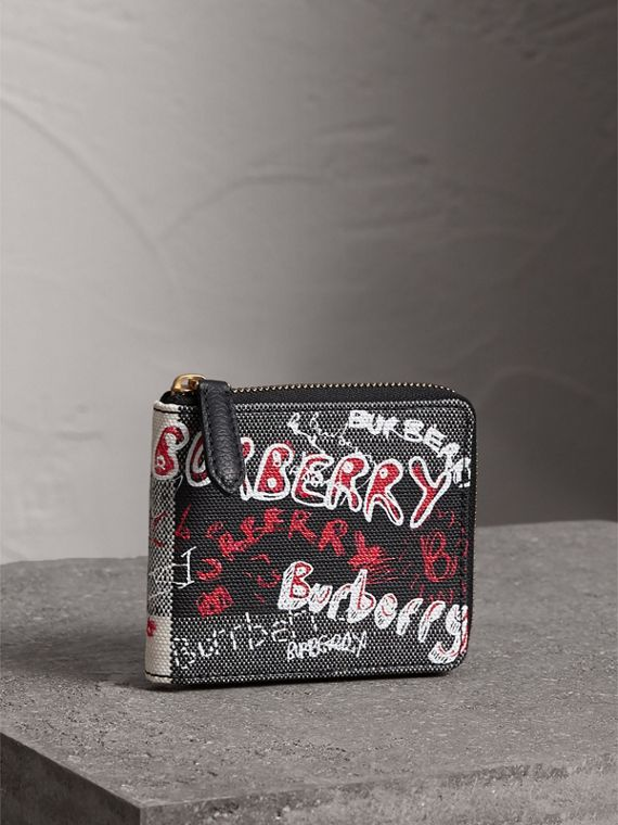 Doodle Print Coated Check Canvas Ziparound Wallet in Black