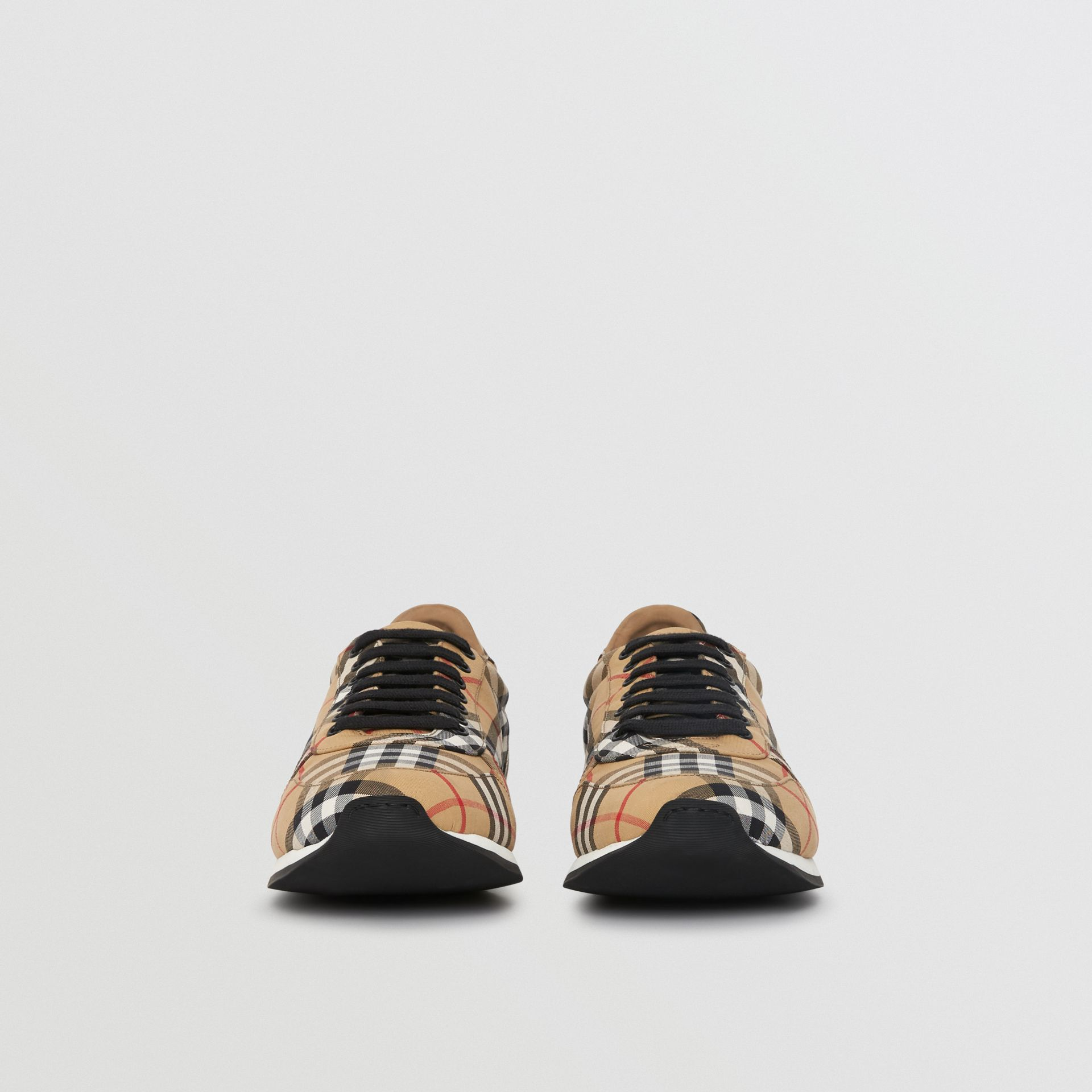 Vintage Check Cotton Trainers in Antique Yellow - Men | Burberry Hong Kong - gallery image 3