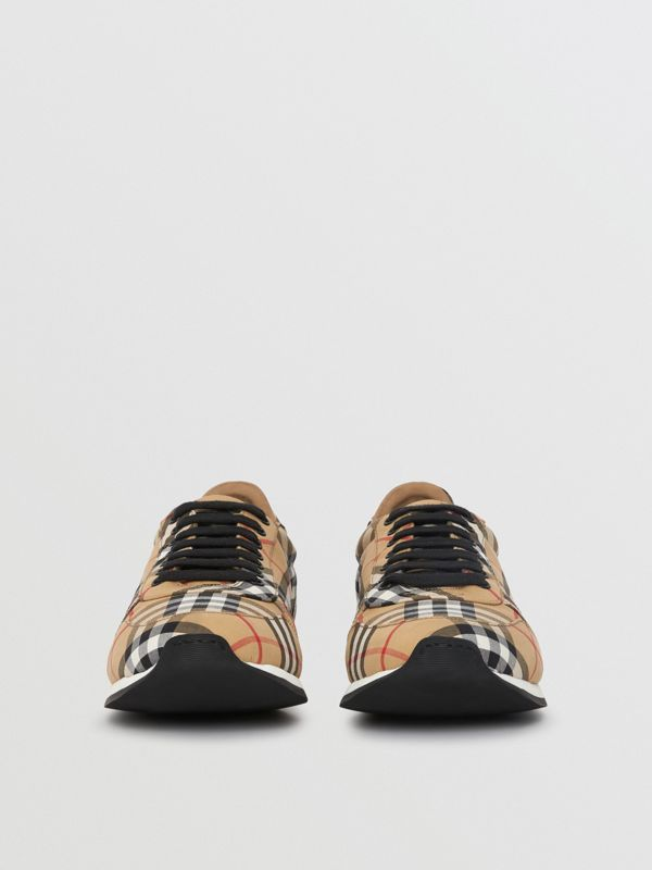 Vintage Check Cotton Trainers in Antique Yellow - Men | Burberry United Kingdom - cell image 3