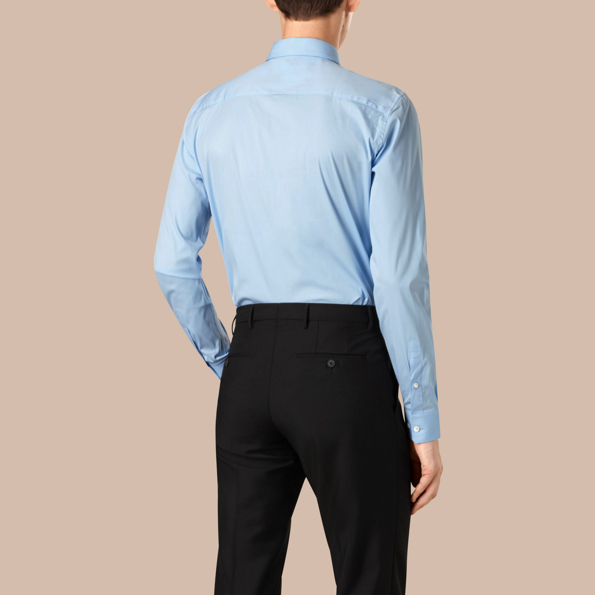Slim Fit Cotton Poplin Shirt in City Blue - Men | Burberry Singapore - gallery image 3