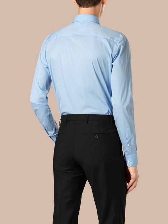 Slim Fit Cotton Poplin Shirt in City Blue - Men | Burberry Singapore - cell image 2